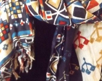 Versatile Handmade Woven Cotton Oblong Scarf