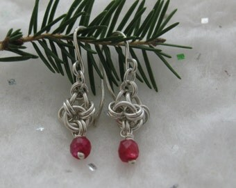 Earrings Argentium Silver Natural Ruby Japanese Lantern Chain Maille Weave