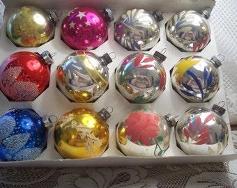 Twelve Assorted Christmas Ornaments Shiny Brite/USA