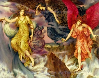 """Evelyn De Morgan """"The Storm Spirits"""" 1900 Reproduction Digital Print  Angels Archangels Protection Overseers During Storms High Seas"""