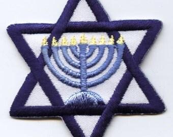 Star of David Menorah Candelabra 9 Lights Iron on Applique
