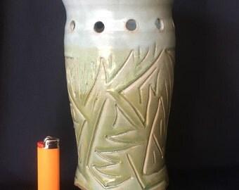 Handmade Wheel Thrown Carved Ceramic Vase Light Blue and Green Vase