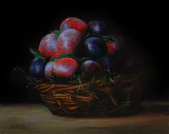 contemporary original artwork oilpainting still life realistic kitchen scene plums in a basket small kitchen still life handpainted