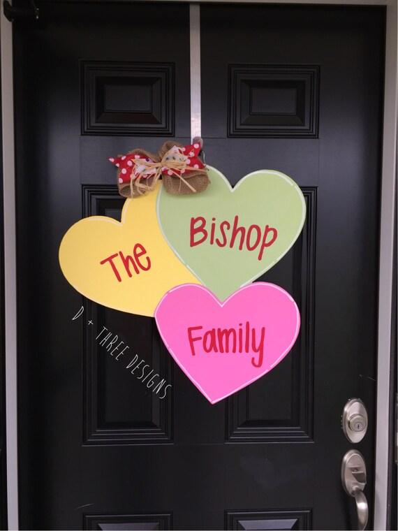Valentines Conversation Hearts Decor Wooden Door Hanger Wreath