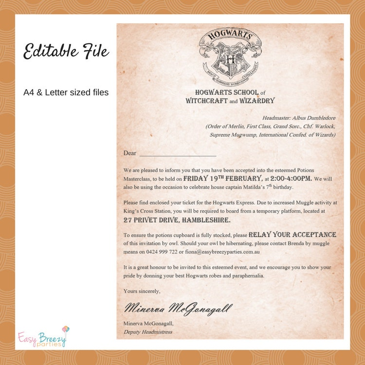 Harry Potter Invitation Editable File By Easybreezyparties