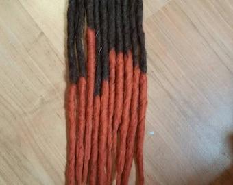 10SE brown orange ombre dreads