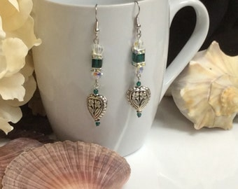 Earrings, Swarovski Crystals, Dangle Earrings, Aurora , hearts, Emeral Green