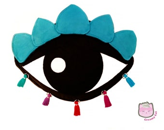 Black & Aqua Lotus Eye crossbody purse