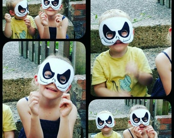 Jack Nightmare Skeleton Felt Mask in Black and White
