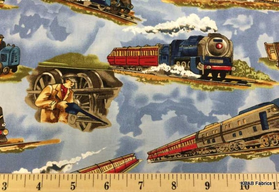 Items similar to train fabric by the yard fq half yard for Train fabric by the yard