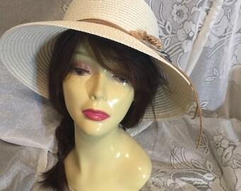 Kentucky Derby hat, cream wedding hat, widebrim bridal hat, Royal Ascot hat, summer wedding hat, Melborne Hat