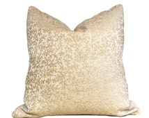 """Beige Coral Botanical Texture Pattern Chenille Pillow Cover, Fits 12x18 12x24 14x20 16x26 16"""" 18"""" 20"""" 22"""" 24"""" Cushions"""