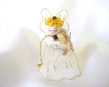 Vintage Christmas Ornament, White Tulle Angel with Harp Ornament, Tie On, Feather Tree Topper