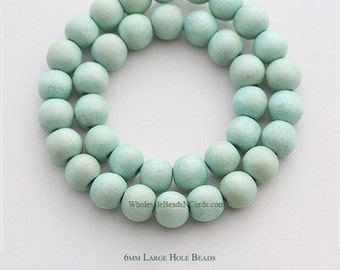 15 inch Strand 6mm Mint Wood Beads - Large Hole - Round - Mint Wooden Beads - Wholesale Wooden Beads Instant Ship USA Seller 0554BH