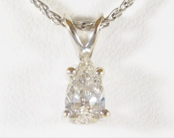 Breathtaking 14k White Gold and Dazzling TearDrop Diamond Pendant Necklace