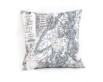 Nautical Map Pillow of Puget Sound, Washington - INDOOR/OUTDOOR