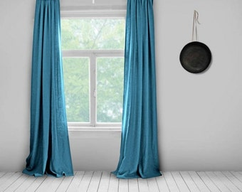 Linen Curtains  Electric Blue  Lined  Bright Blue  Made To Measure Curtains
