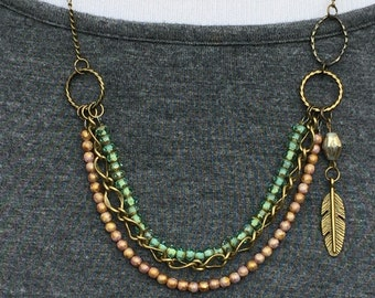 Beaded, 3 strand, bib necklace