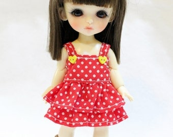 Red and White Polka dot Dress With Bow For Lati Yellow / Pukifee Outfit #L012