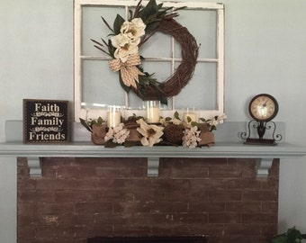 Custom window - 6 pane window wreath hanger - wreath hanger - 6 or 8 pane window decor - shabby 6 pane window sash - six pane windows
