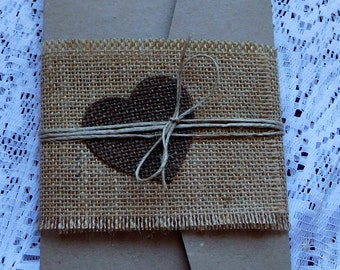 Rustic hessian pocketfold invitation