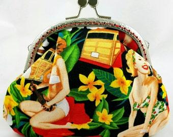 Purse/make up bag/clutch - Retro hula ladies