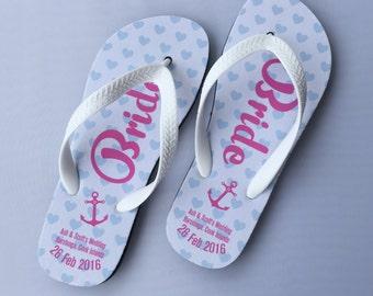 Bride's Flip Flops/ Groom's Flip Flop, Sandals with own design
