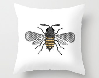 Bee Pillow Bees Queen Print Beehive Honey Decorative Throw Pattern Nature Animal