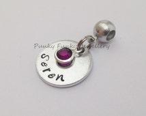 Personalised birthstone European charm - birthstone crystal - charm to fit Pandora bracelet - name charm - birthday gift - hand stamped gift