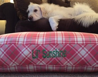 Dog Bed * Chloe * Pink Green Plaid * Limited Edition * Large * Personalize with Pup Name  * Custom Pillow Cover * Embroidery * TSD