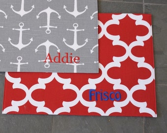 Quatrefoil Pet Placemat || Red Personalized Water + Food Bowl Mat || Custom Puppy Gift Monogram Feeding Station by Three Spoiled Dogs