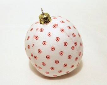 Christmas ball white red 6 cm dotted stitched unbreakable ball bauble Christmas ornament Eisbaerchenmama