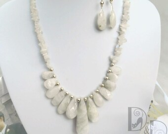 Moonstone Necklace and Earrings Bridal Set