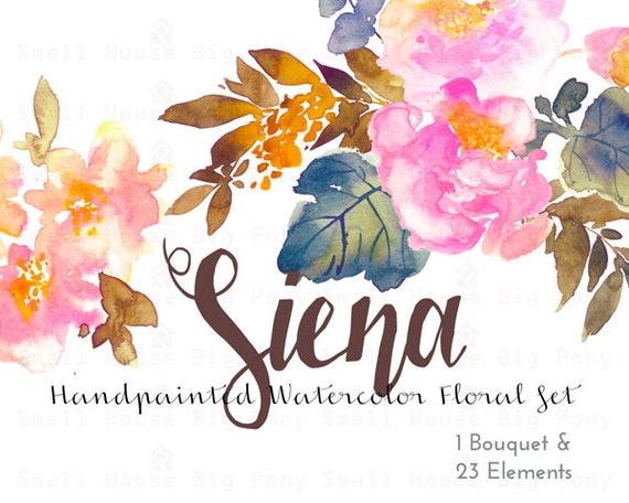 Digital Clipart- Watercolor Flower Clipart, peonies Clip art, Floral Bouquet Clipart, wedding flowers clip art- Siena Elements