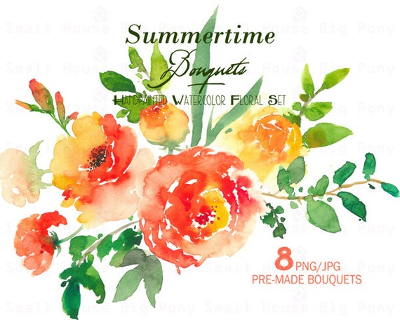 Digital Clipart- Watercolor Flower Clipart, peonies Clip art, Floral Bouquet Clipart, wedding flowers clip art- Summertime Bouquet Elements