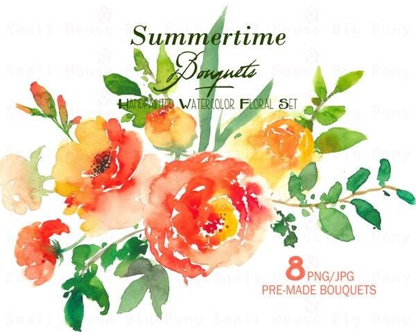 Digital Clipart Watercolor Flower Peonies Clip Art Floral Bouquet Wedding Flowers Summertime Elements