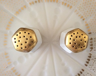 gilded signed N. Gould salt and pepper shakers