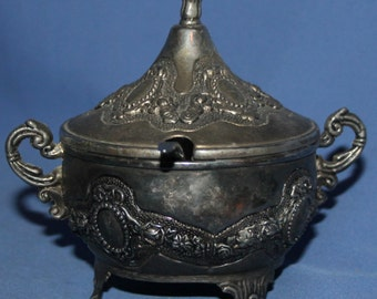 Vintage Ornate Silver Plated Footed Sugar Bowl