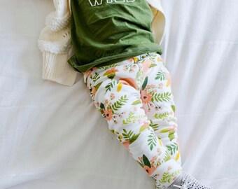 Baby Leggings // Floral Leggings // Baby Girl Leggings // Organic Leggings // Summer Leggings // Coral Floral
