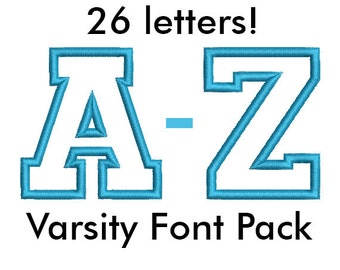 Varsity College Font Pack (26 Letters) - Embroidery Machine Applique Design