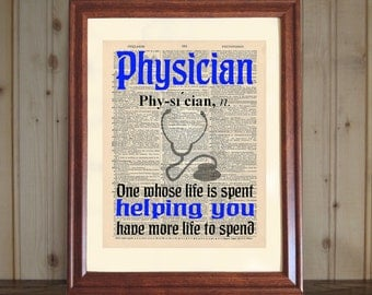 Physician Dictionary Print, Physician Quote, Dr. Office Decor, MD Quote, Med School Grad Gift, Doctor Quote, Physician Print, Gift for Dr.