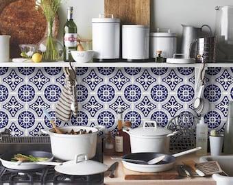 Tile Decals - Tiles for Kitchen/Bathroom Back splash - Floor decals - Mexican Indigo Blue Cleft Vinyl Tile Sticker Pack