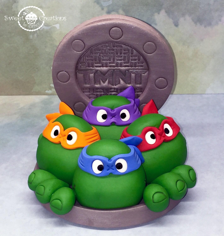 3D Edible Fondant ninja turtles inspired cake topper