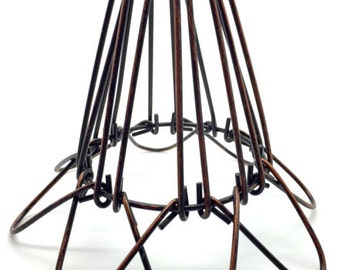 Lamp shade bird cage etsy 4 x vintage industrial steampunk red bronze wire bird cage lamp shade guard clamp greentooth Image collections