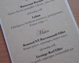 Kraft Brown Table Menu - Weddings, Engagement and Birthday Celebrations