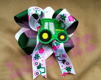 Pink tractor hair clip, green bow, tractors are for girls too