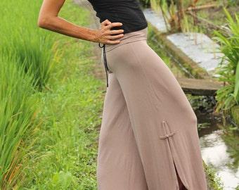 WIDE PANTS - Flare pants with side slits - Yoga & dance pants - palazzo pants -