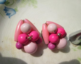 Pink Beaded Clip Earrings