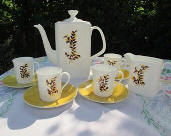 Yellow & White Handpainted Porcelain Coffee Set