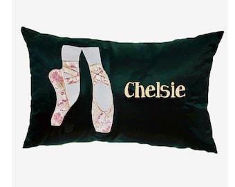Black and gold ballet pillow; personalized ballet bedding; dance decor; ballerina gift